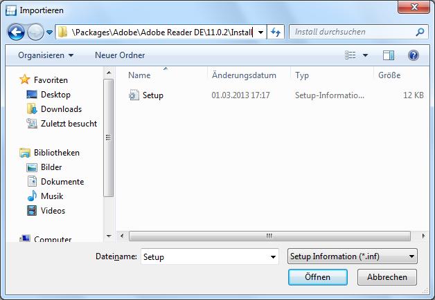 Auswählen der Setup.inf Datei