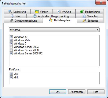 Paketeigenschaften Betriebssystem
