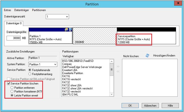 OS-Installer Konfiguration Partition
